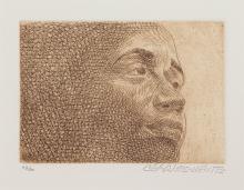 Charles White, 1918-1979, untitled, Head of a Woman III