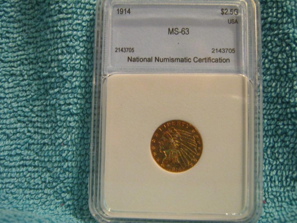 1914 250 Indian Head Gold Coin Nnc Graded Ms63