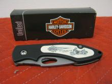 Harley Davidson Scrimshaw Knife HD4ST Softail Classic Art Liner Lock NIB