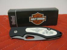 Harley Davidson Scrimshaw Knife HD4FB Fat Boy Art Liner Lock NIB