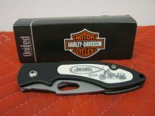 Harley Davidson Scrimshaw Knife HD4HS Heritage Springer Art Liner Lock NIB