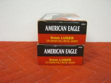 2 Full Boxes American Eagle 9MM Luger 124 Grains, FMJ, 100 Rounds