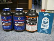 4 One Pound Powders, 2 Winchester 748, 1 Hodgdon & 1 IMR Can all New w/Seals