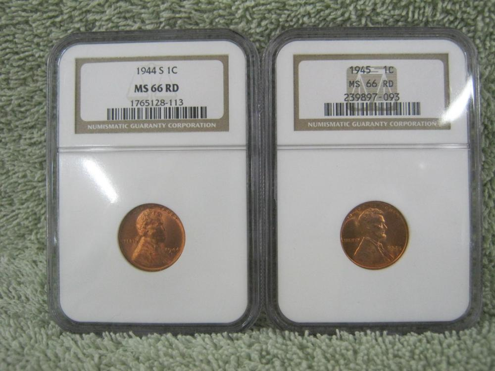 1944s & 1945 lincoln pennies both ngc graded ms66rd