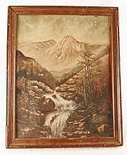 Oil on Canvas, Creek Moutain Scene