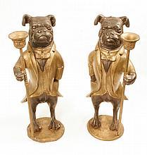 Pair of Bronze Dog Candlesticks
