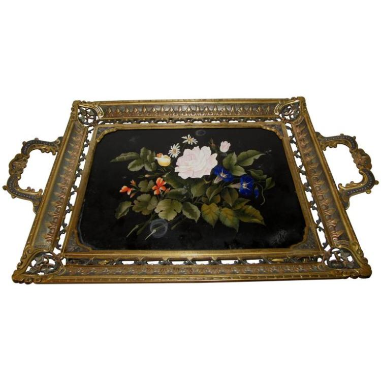 Florentine Pietra Dura Plaque by Enrico Bosi Framed as Serving Tray
