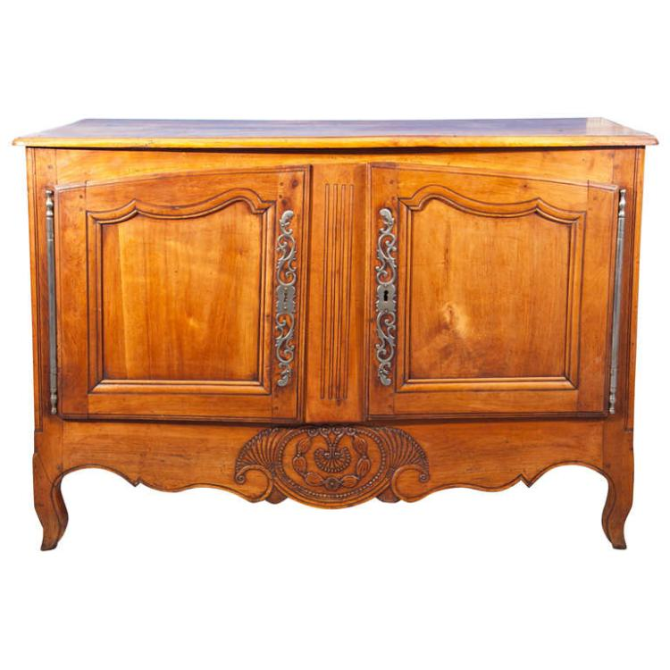 French Provencal Louis XV Era, Hand-Carved Oak Buffet