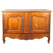 French Provencal Louis XV Era, Hand-Carved Oak Buffet