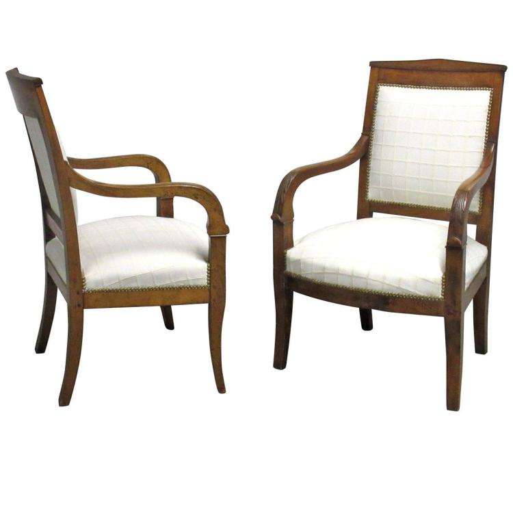 Pair of Early 19th Century French Walnut Fauteuils