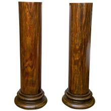 Pair of Large Solid Oak Footed Column Pedestals