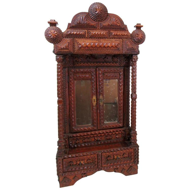 Tramp Art Miniature Wall Cabinet