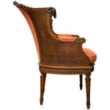 Late Victorian Caned Mahogany Library Chair in the Adam Style