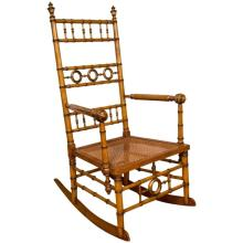 Aesthetic Movement Faux Bamboo Rocking Chair Attributed to R.J. Horner & Co