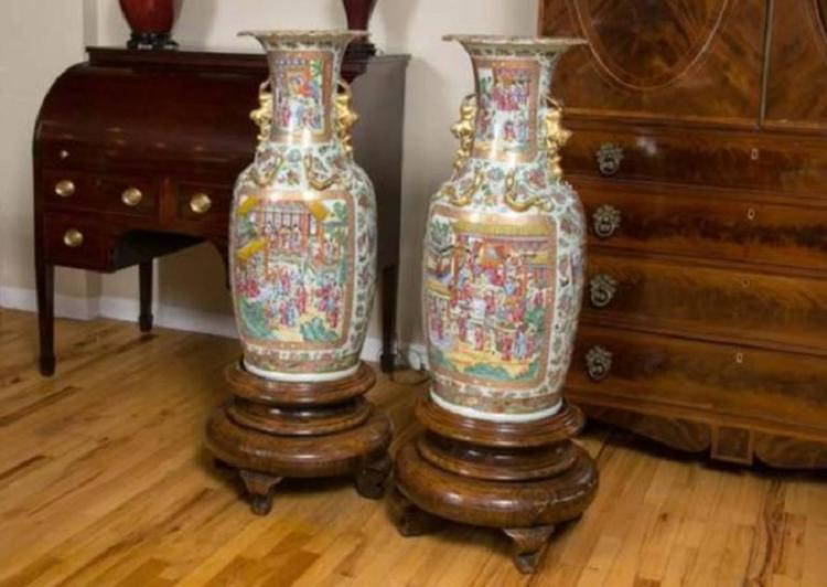 Pair Of Large 19th Century Chinese Cantonese Floor Vases On