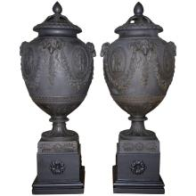 Pair of Wedgwood Black Basalt Potpourri Vases with Covers on Stands