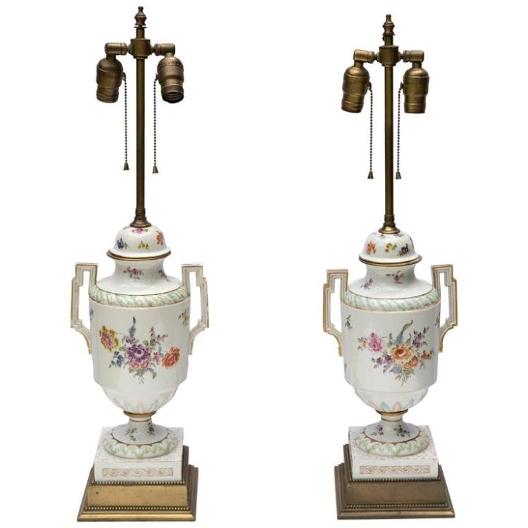 Pair of Neoclassical French Porcelain Urns as Table Lamps