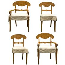 Set of Four Biedermeier Tiger Maple Dining Chairs