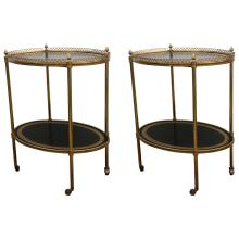 Pair of French Directoire Oval Rolling Side Tables
