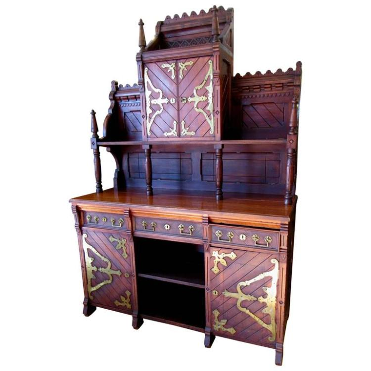 Victorian Gothic Revival Buffet in the Manner of Architect E. Edwards Ficken