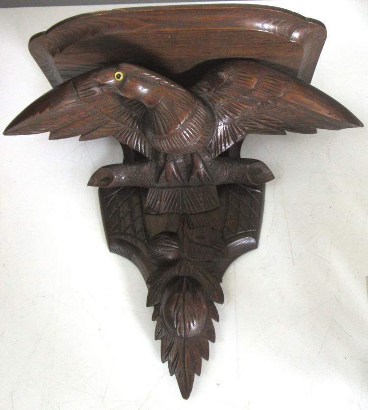A Black Forest Eagle Theme Wall Bracket
