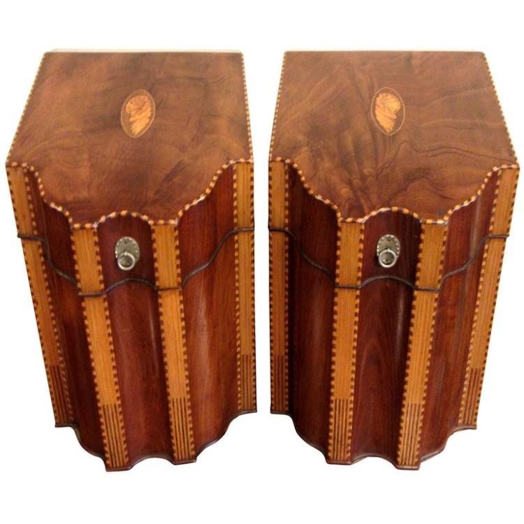 Fine Pair of 18th Century English Inlaid Mahogany Knife Boxes