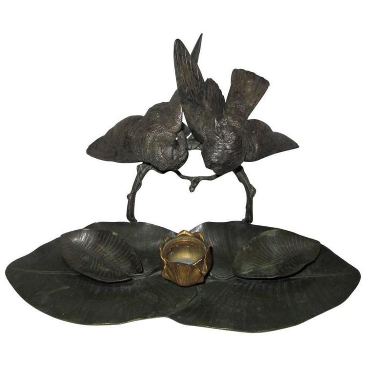 Rare Charles Cumberworth Signed Bronze Inkwell