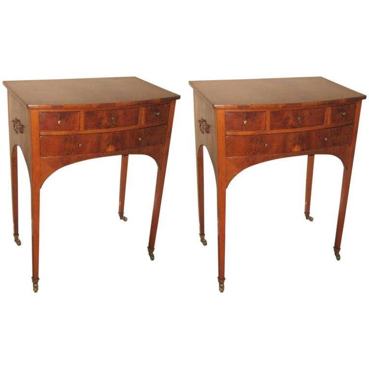 Pair of 19th Century Flame Mahogany End/Bedside Table