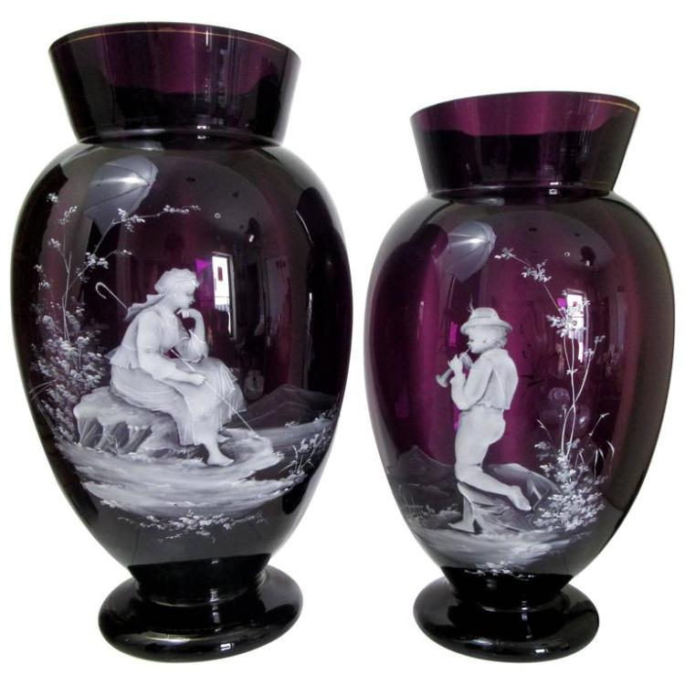 Pair of Large Mary Gregory Style Enameled Amethyst Glass Vases