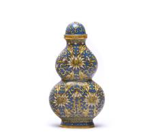 A Chinese Cloisonn Enamel Gourd-Shaped Snuff Bottle