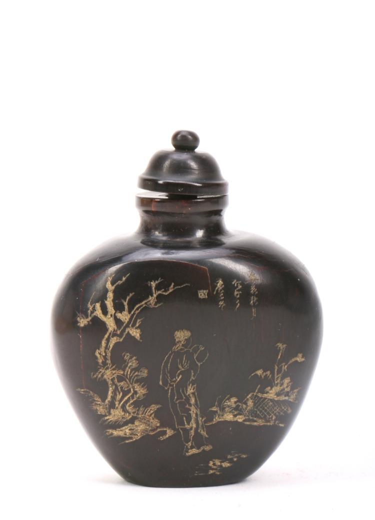 A Chinese Ox Horn Snuff Bottle