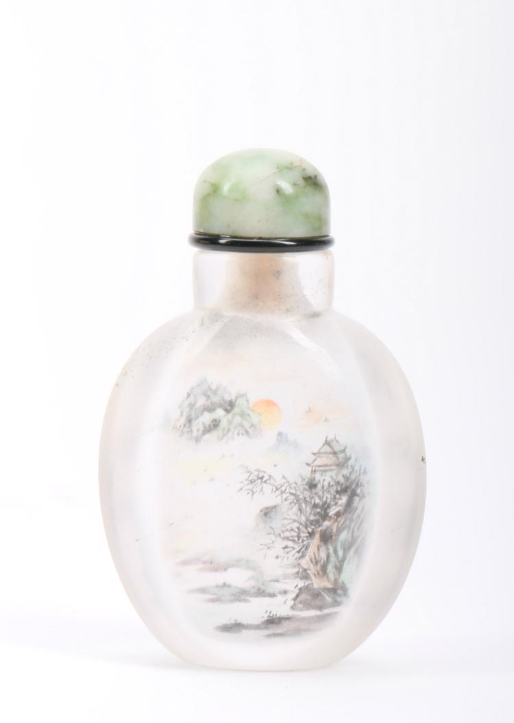 A Chinese Inlaid Painted Crystal Snuff Bottle