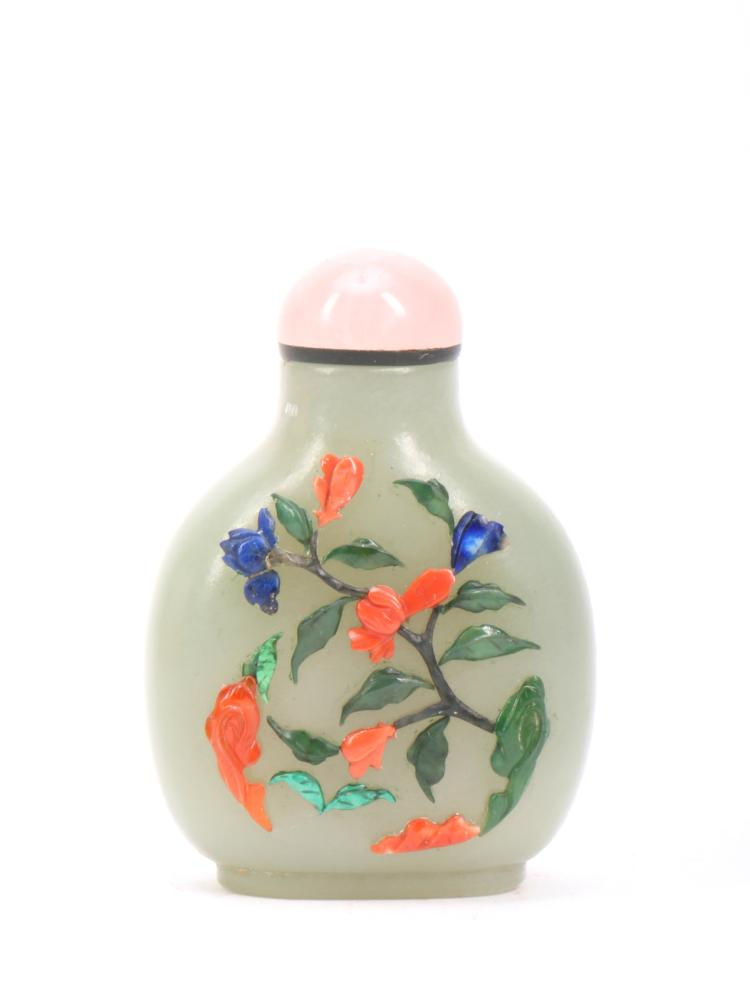 A Chinese Jewelry Inlaid Jade Snuff Bottle