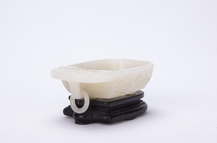 A Chinese White Jade Brush Washer with Stand