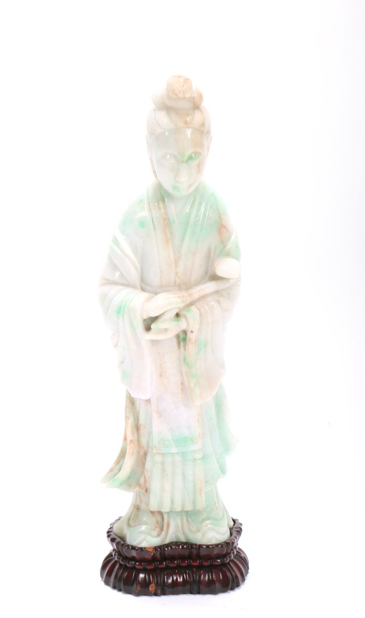 A Chinese Jadeite Figure of Standing GuanYin