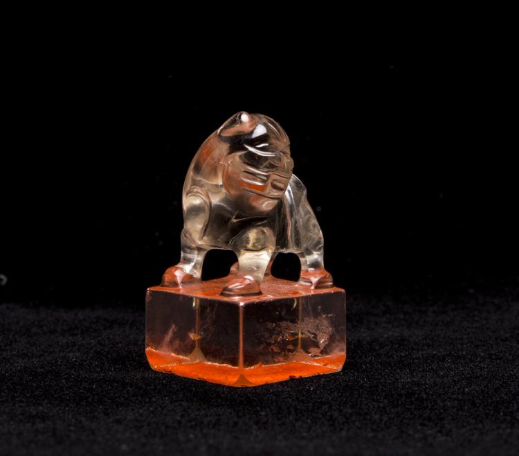 A Chinese Crystal Seal With Foo-Dog Top
