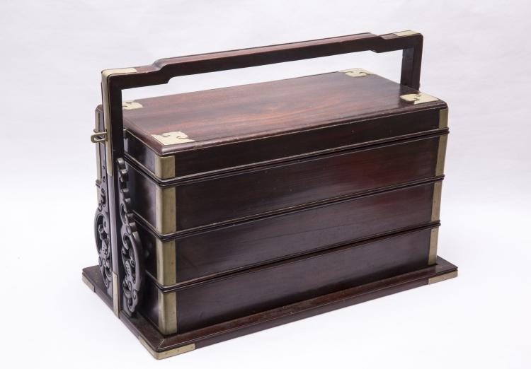A Chinese Bronze Inlaid Rosewood Box