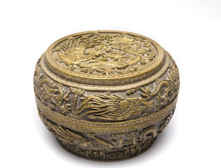 A Chinese Gilt Bronze Box with Dragon and Phenix Pattern