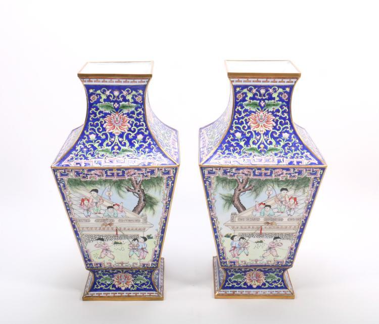 A Pair of Chinese Gilt Bronze Enamel Vases
