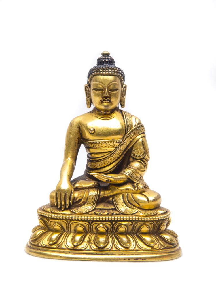 A Chinese Gilt Bronze Figure of Shakyamuni