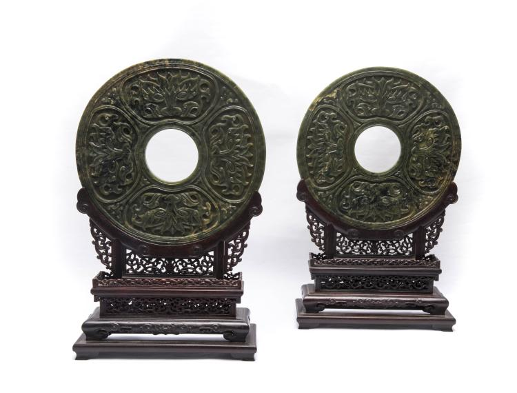 A Pair of Chinese Jade Decorations with Wood Stands
