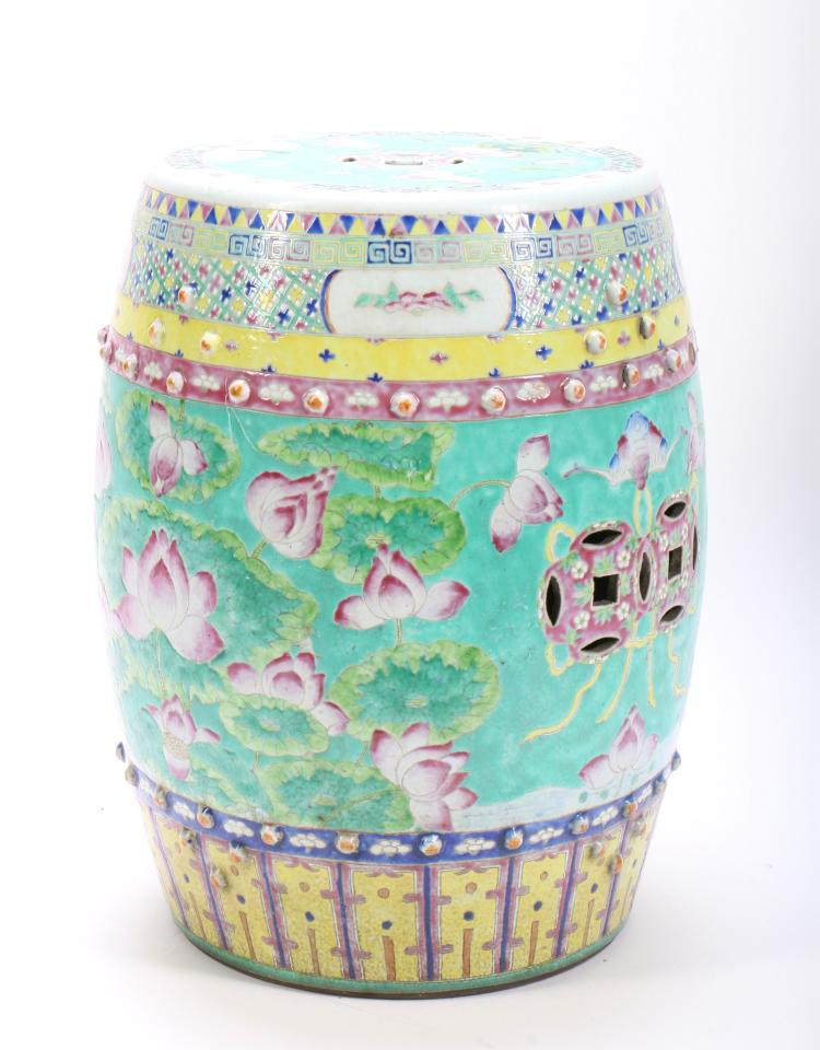 A Chinese Famille Rose Porcelain Garden Seat