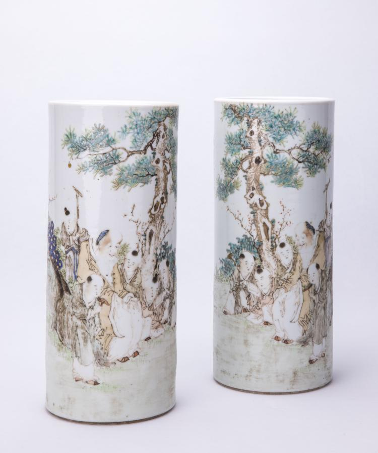 A Pair of Chinese Famille-Rose Porcelain Hat Stands