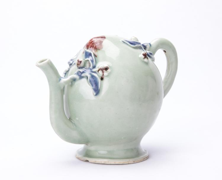 A Chinese Glazed Peach Shaped Tea Pot