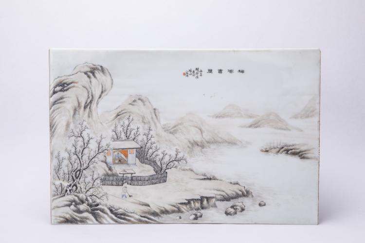 A Chinese Porcelain Panel with Snow-Covered Landscape