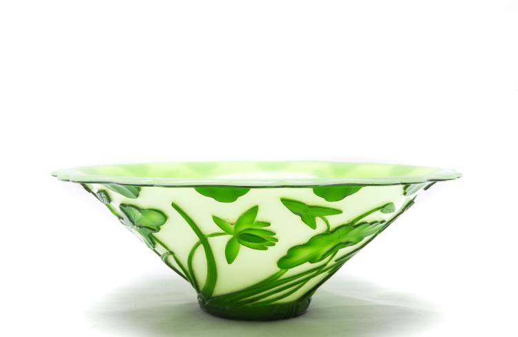A Chinese White and Green Glass Decoration