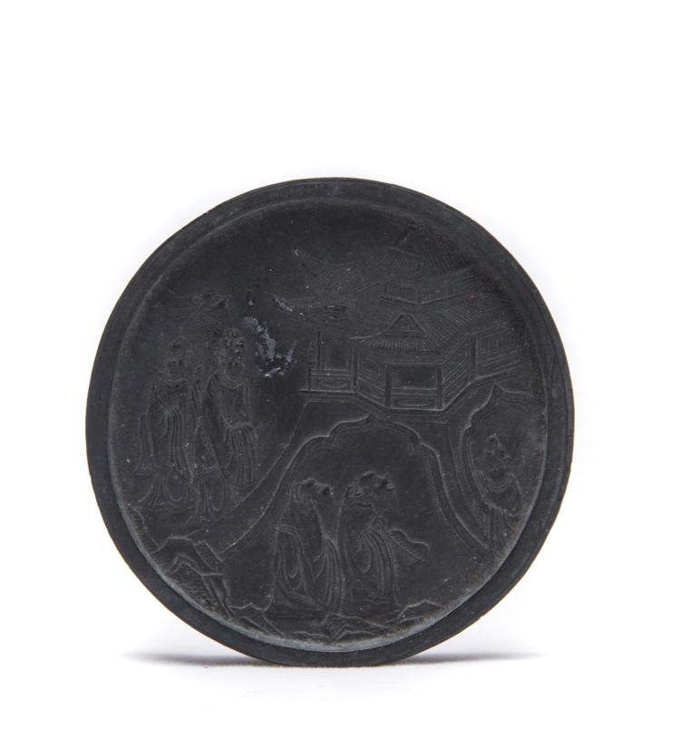A Chinese Round Ink with Landscape and Portraiture Design