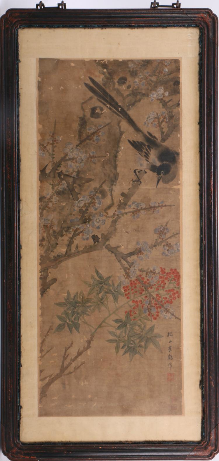 A Chinese Silk Painting with Flower and Bird Pattern