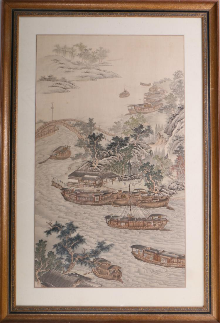 A Chinese Silk Painting with Landscape