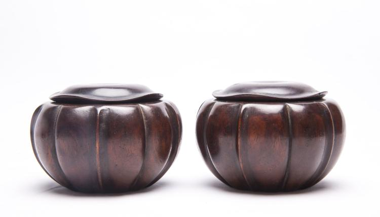 A Pair of Chinese Huali Wood Boxes